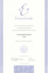Ehrenurkunde für vorbildliche Leistungen in der Berufsausbildung