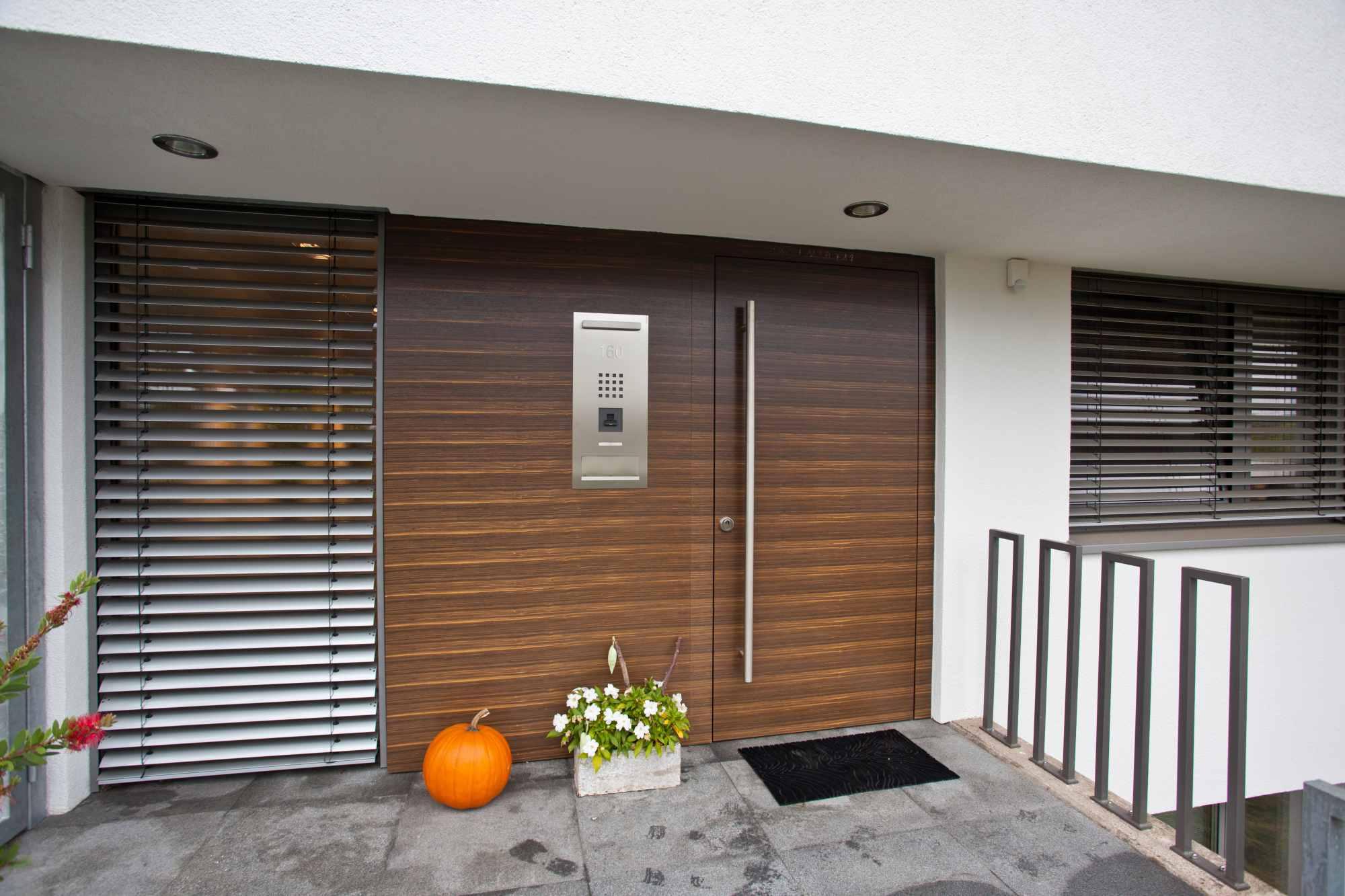 Hauseingangselement mit Seitenteil in Makassar querfurniert