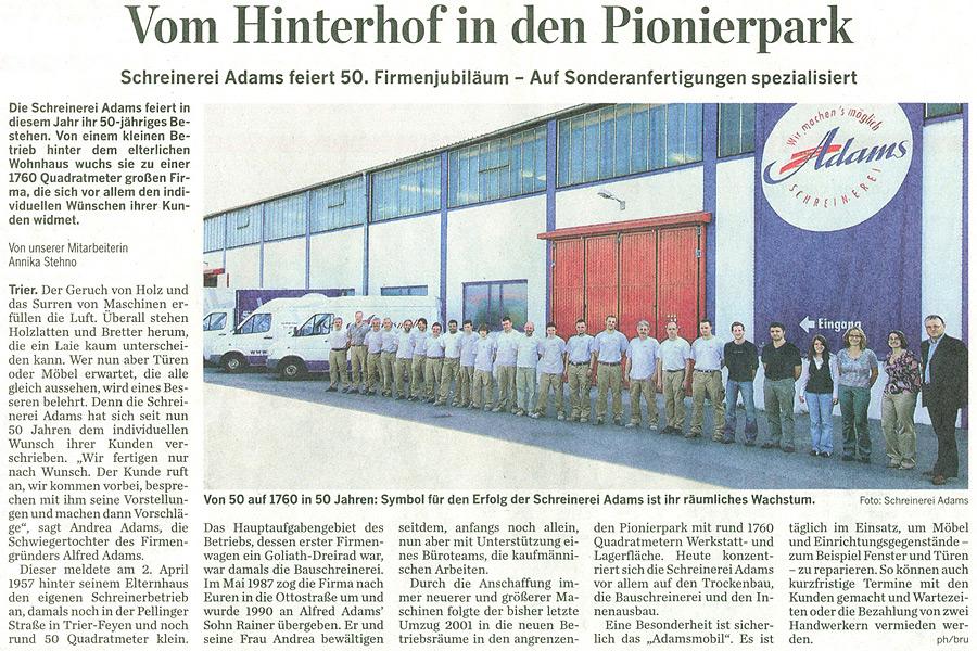 Artikel im Trierischen Volksfreund zu 50-jährigem Betriebsjubiläum der Schreinerei Adams in Trier